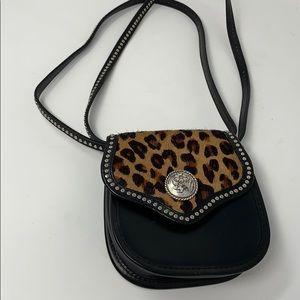 Real leather cheetah print horse hair western bag